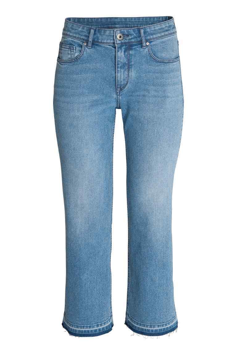 Kick Flare Ankle Jeans - style: flares; pattern: plain; pocket detail: traditional 5 pocket; waist: mid/regular rise; predominant colour: denim; occasions: casual; length: ankle length; fibres: cotton - 100%; texture group: denim; pattern type: fabric; season: s/s 2016; wardrobe: basic