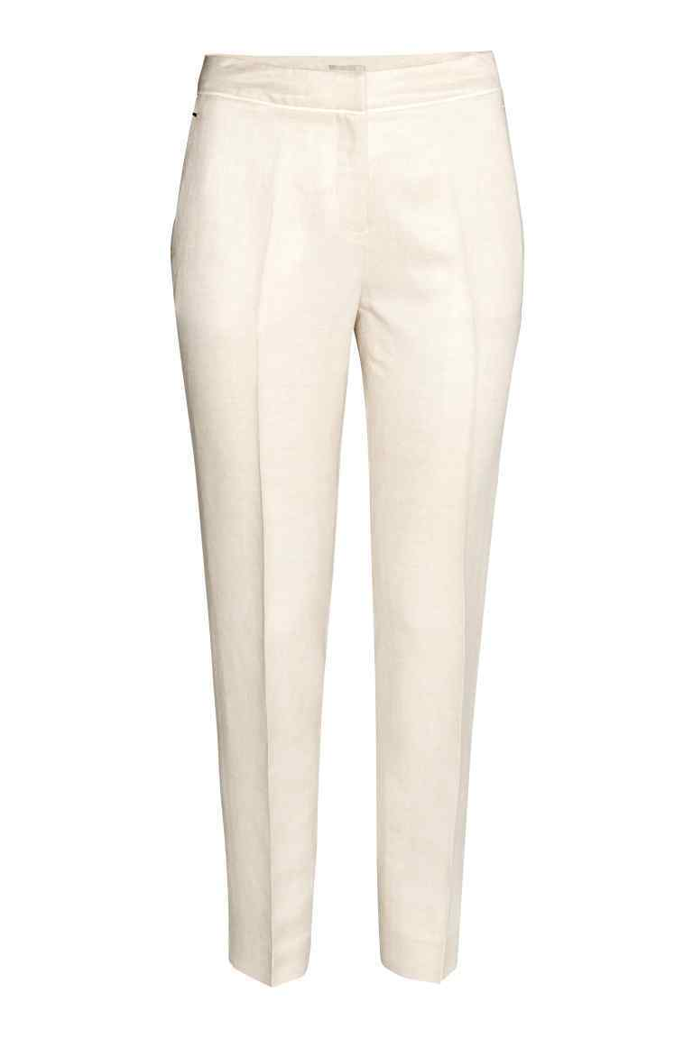 Linen Blend Cigarette Trousers - pattern: argyll; waist: mid/regular rise; predominant colour: ivory/cream; occasions: work, creative work; length: ankle length; fibres: linen - mix; texture group: linen; fit: slim leg; pattern type: fabric; style: standard; season: s/s 2016; wardrobe: highlight