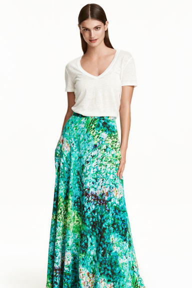 Long Silk Skirt - fit: loose/voluminous; waist: high rise; secondary colour: ivory/cream; predominant colour: emerald green; occasions: casual; length: floor length; style: maxi skirt; fibres: silk - 100%; hip detail: soft pleats at hip/draping at hip/flared at hip; pattern type: fabric; pattern: patterned/print; texture group: woven light midweight; pattern size: standard (bottom); multicoloured: multicoloured; season: s/s 2016; wardrobe: highlight