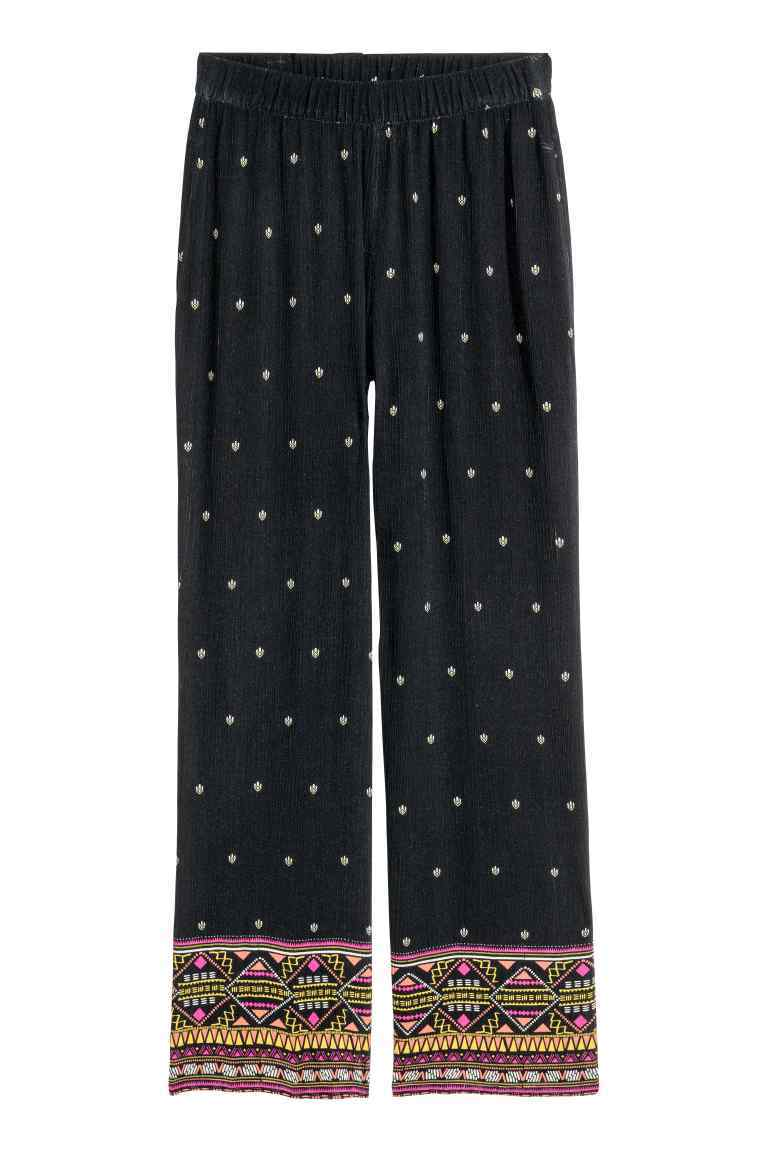 Patterned Trousers - length: standard; style: palazzo; waist: high rise; predominant colour: navy; fibres: cotton - 100%; fit: wide leg; pattern type: fabric; pattern: patterned/print; texture group: other - light to midweight; occasions: creative work; pattern size: standard (bottom); season: s/s 2016; wardrobe: highlight