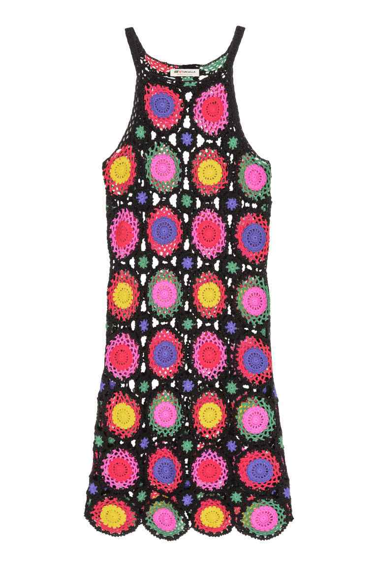 Crocheted Dress - length: mid thigh; fit: tight; sleeve style: sleeveless; style: bodycon; secondary colour: pink; predominant colour: black; occasions: evening; fibres: cotton - 100%; neckline: crew; sleeve length: sleeveless; texture group: knits/crochet; pattern type: knitted - big stitch; pattern: florals; multicoloured: multicoloured; season: s/s 2016; wardrobe: event