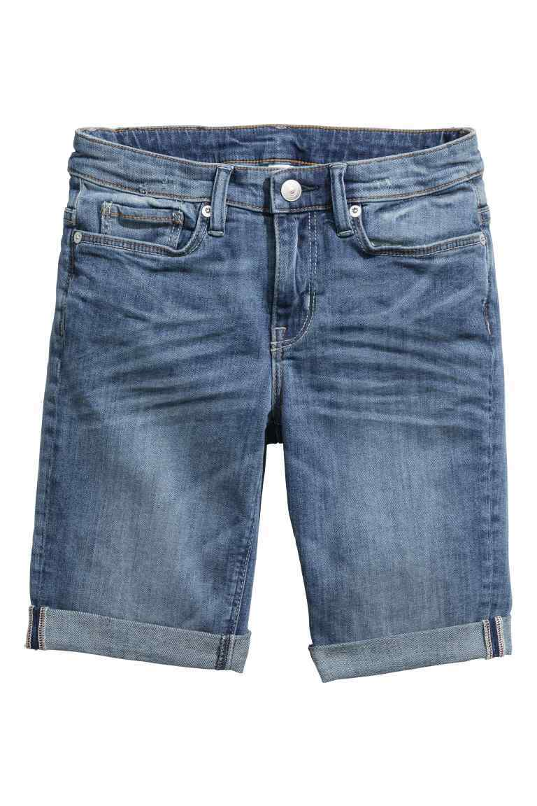 Denim Bermuda Shorts - pattern: plain; waist: mid/regular rise; predominant colour: denim; occasions: casual, creative work; fibres: cotton - stretch; texture group: denim; pattern type: fabric; season: s/s 2016; style: denim; length: mid thigh shorts; fit: slim leg; wardrobe: highlight