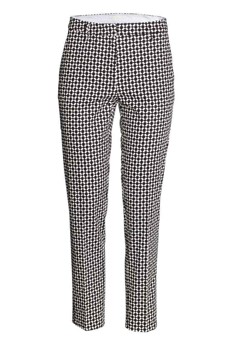 Trousers - waist: mid/regular rise; secondary colour: white; predominant colour: black; length: ankle length; fibres: cotton - mix; waist detail: narrow waistband; trends: monochrome; texture group: jersey - clingy; fit: slim leg; pattern type: fabric; pattern: patterned/print; style: standard; occasions: creative work; pattern size: standard (bottom); season: s/s 2016; wardrobe: highlight