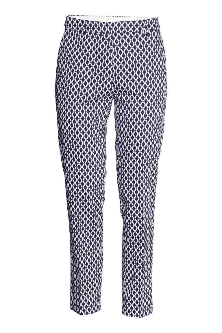Trousers - waist: mid/regular rise; secondary colour: white; predominant colour: navy; occasions: casual, creative work; length: ankle length; fibres: cotton - mix; waist detail: feature waist detail; fit: slim leg; pattern type: fabric; pattern: patterned/print; texture group: woven light midweight; style: standard; season: s/s 2016; wardrobe: highlight