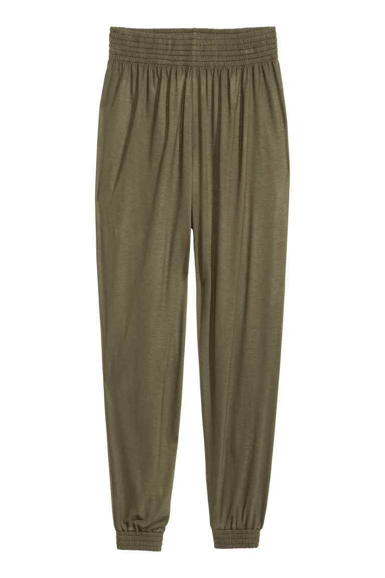 Harem Pants - length: standard; pattern: plain; style: harem/slouch; waist detail: elasticated waist; waist: high rise; predominant colour: khaki; occasions: casual; fibres: polyester/polyamide - stretch; fit: baggy; pattern type: fabric; texture group: jersey - stretchy/drapey; season: s/s 2016; wardrobe: highlight