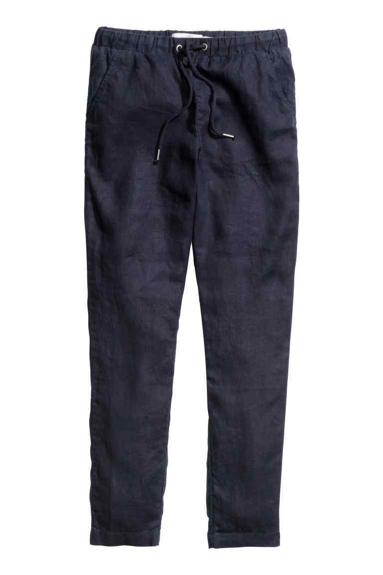 Linen Trousers - length: standard; pattern: plain; waist detail: belted waist/tie at waist/drawstring; waist: mid/regular rise; predominant colour: navy; occasions: casual; fibres: linen - mix; texture group: linen; fit: slim leg; pattern type: fabric; style: standard; pattern size: standard (bottom); season: s/s 2016; wardrobe: basic