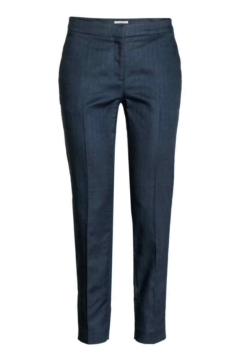 Trousers In A Linen Blend - pattern: plain; waist: mid/regular rise; predominant colour: navy; length: calf length; fibres: linen - mix; waist detail: feature waist detail; texture group: linen; fit: slim leg; pattern type: fabric; style: standard; occasions: creative work; season: s/s 2016; wardrobe: basic