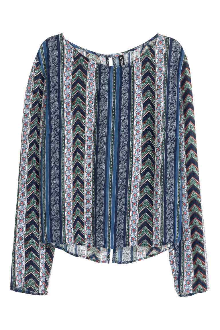 Patterned Blouse - neckline: round neck; style: blouse; secondary colour: white; predominant colour: navy; occasions: casual; length: standard; fibres: viscose/rayon - 100%; fit: body skimming; sleeve length: long sleeve; sleeve style: standard; pattern type: fabric; pattern: patterned/print; texture group: other - light to midweight; multicoloured: multicoloured; season: s/s 2016; wardrobe: highlight