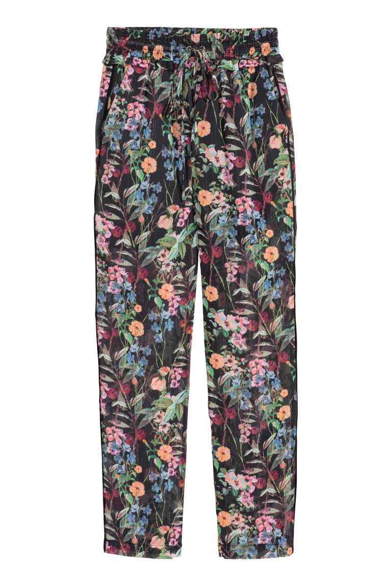 Patterned Chiffon Trousers - length: standard; waist: high rise; secondary colour: magenta; predominant colour: pale blue; occasions: casual; fibres: polyester/polyamide - 100%; fit: straight leg; pattern type: fabric; pattern: florals; texture group: other - light to midweight; style: standard; pattern size: standard (bottom); multicoloured: multicoloured; season: s/s 2016; wardrobe: highlight