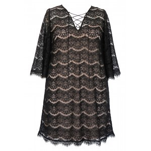 Eyelash Lace Lace Up Tunic & Slip - neckline: low v-neck; sleeve style: angel/waterfall; style: tunic; secondary colour: nude; predominant colour: black; occasions: evening; fibres: polyester/polyamide - 100%; fit: loose; length: mid thigh; sleeve length: 3/4 length; texture group: lace; pattern type: fabric; pattern size: standard; pattern: patterned/print; embellishment: lace; season: s/s 2016