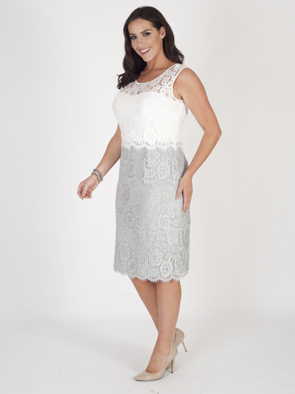 Grey/Ivory Bodice Scallop Layered Lace Dress - style: shift; length: below the knee; neckline: round neck; fit: tailored/fitted; sleeve style: sleeveless; secondary colour: white; predominant colour: mid grey; fibres: polyester/polyamide - 100%; occasions: occasion; sleeve length: sleeveless; texture group: lace; pattern type: fabric; pattern size: standard; pattern: colourblock; season: s/s 2016; wardrobe: event