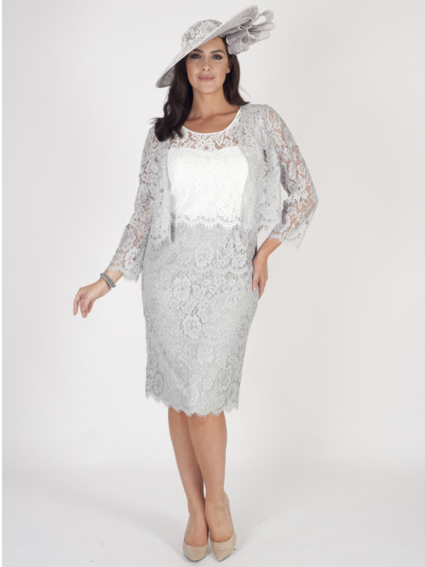 Grey Scallop Trim Lace Jacket - pattern: plain; style: bolero/shrug; collar: shawl/waterfall; predominant colour: light grey; length: standard; fit: tailored/fitted; fibres: polyester/polyamide - 100%; occasions: occasion; sleeve length: long sleeve; sleeve style: standard; collar break: low/open; pattern type: fabric; texture group: other - light to midweight; embellishment: lace; season: s/s 2016; wardrobe: event