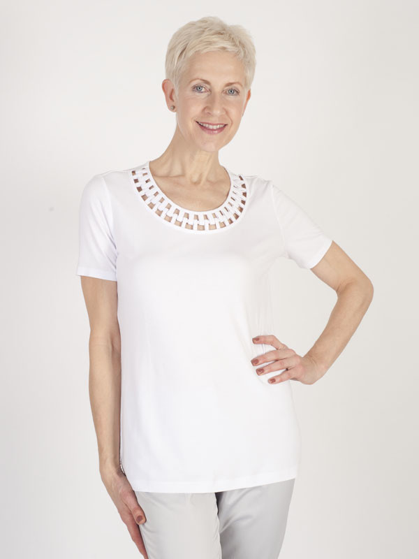 Betty Barclay Jersey Neck Detail Top - neckline: round neck; pattern: plain; length: below the bottom; style: wrap/faux wrap; predominant colour: white; occasions: casual, creative work; fibres: viscose/rayon - stretch; fit: body skimming; sleeve length: short sleeve; sleeve style: standard; pattern type: fabric; texture group: jersey - stretchy/drapey; season: s/s 2016; wardrobe: basic