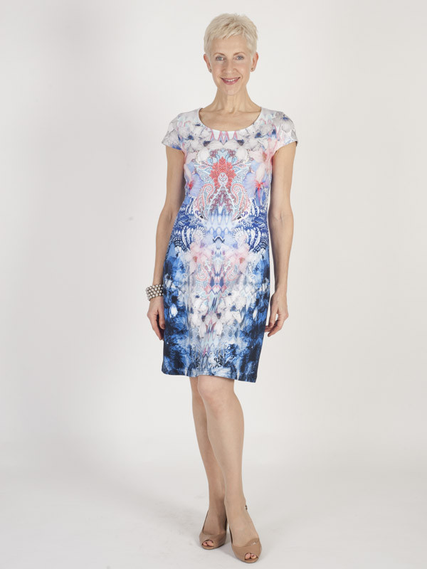 Betty Barclay Printed Jersey Dress - style: shift; neckline: round neck; sleeve style: capped; secondary colour: pink; predominant colour: navy; occasions: evening; length: on the knee; fit: body skimming; fibres: cotton - stretch; sleeve length: short sleeve; pattern type: fabric; pattern size: big & busy; pattern: patterned/print; texture group: jersey - stretchy/drapey; multicoloured: multicoloured; season: s/s 2016; wardrobe: event