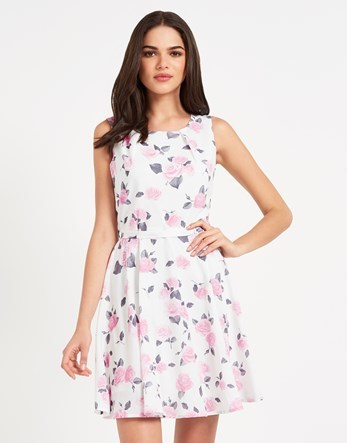 Mela Vintage Floral Print Day Dress - length: mid thigh; sleeve style: sleeveless; predominant colour: ivory/cream; secondary colour: pink; occasions: evening; fit: fitted at waist & bust; style: fit & flare; fibres: polyester/polyamide - 100%; neckline: crew; sleeve length: sleeveless; pattern type: fabric; pattern: florals; texture group: other - light to midweight; multicoloured: multicoloured; season: s/s 2016; wardrobe: event