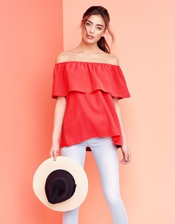 Frill Bardot Top - neckline: off the shoulder; pattern: plain; length: below the bottom; predominant colour: true red; occasions: casual; style: top; fibres: cotton - 100%; fit: loose; sleeve length: half sleeve; sleeve style: standard; bust detail: bulky details at bust; pattern type: fabric; texture group: other - light to midweight; season: s/s 2016; wardrobe: highlight