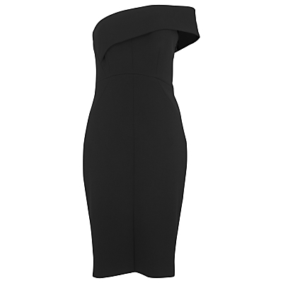 Cold Shoulder Bandeau Dress, Black - fit: tailored/fitted; pattern: plain; style: asymmetric (top); sleeve style: asymmetric sleeve; neckline: asymmetric; predominant colour: black; occasions: evening; length: just above the knee; fibres: polyester/polyamide - stretch; sleeve length: sleeveless; pattern type: fabric; texture group: woven light midweight; season: s/s 2016; wardrobe: event