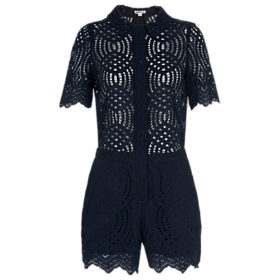 Clementine Lace Playsuit, Navy - neckline: shirt collar/peter pan/zip with opening; fit: tailored/fitted; length: short shorts; predominant colour: navy; occasions: evening; fibres: polyester/polyamide - 100%; sleeve length: short sleeve; sleeve style: standard; texture group: lace; style: playsuit; pattern type: fabric; pattern size: standard; pattern: patterned/print; embellishment: lace; season: s/s 2016; wardrobe: event
