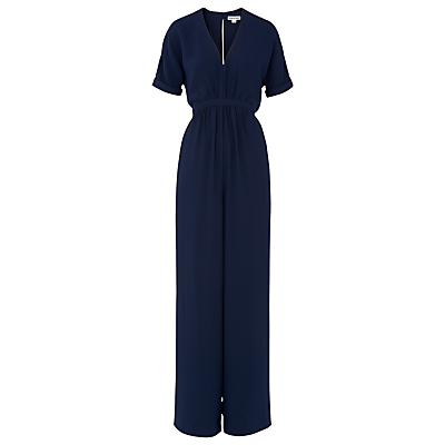Buena Gathered Waist Jumpsuit, Navy - length: standard; neckline: low v-neck; fit: fitted at waist; pattern: plain; back detail: tie detail at back; waist detail: belted waist/tie at waist/drawstring; predominant colour: navy; fibres: polyester/polyamide - 100%; occasions: occasion; sleeve length: short sleeve; sleeve style: standard; style: jumpsuit; pattern type: fabric; texture group: other - light to midweight; season: s/s 2016; wardrobe: event