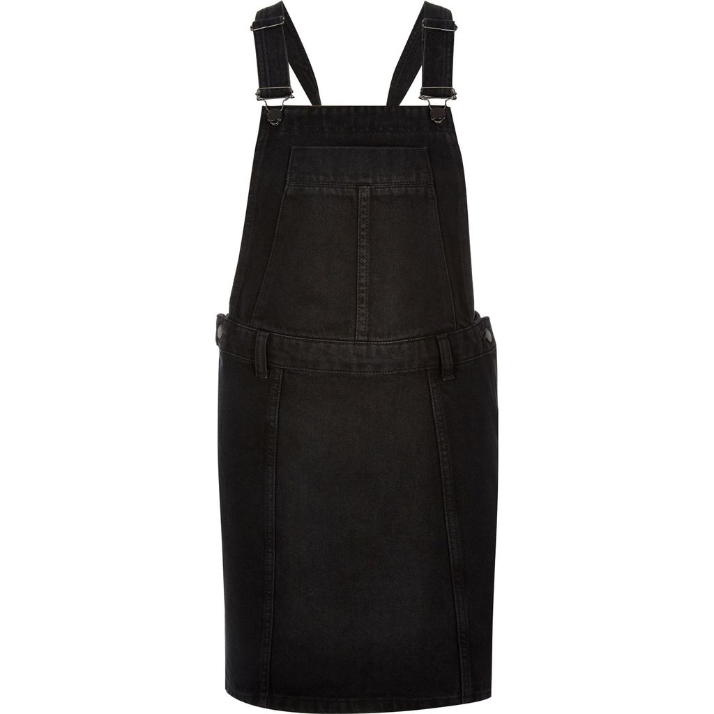 Womens Black Denim Dungaree Dress - pattern: plain; sleeve style: sleeveless; style: dungaree dress/pinafore; predominant colour: black; occasions: casual; length: just above the knee; fit: straight cut; fibres: cotton - stretch; sleeve length: sleeveless; texture group: denim; neckline: medium square neck; pattern type: fabric; season: s/s 2016; wardrobe: highlight
