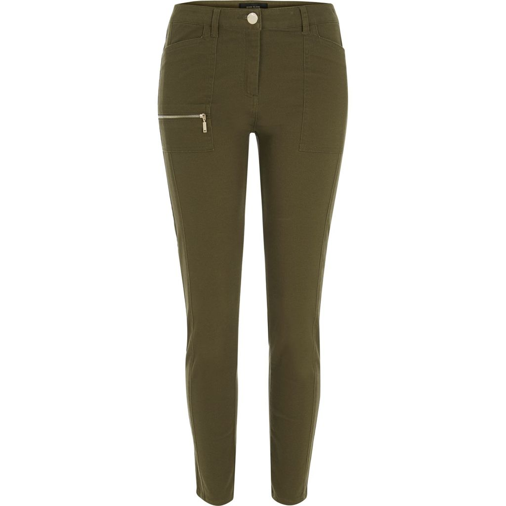 Womens Khaki Twill Skinny Trousers - length: standard; pattern: plain; waist: mid/regular rise; predominant colour: khaki; occasions: casual, creative work; fibres: polyester/polyamide - stretch; texture group: cotton feel fabrics; fit: skinny/tight leg; pattern type: fabric; style: standard; pattern size: standard (bottom); season: s/s 2016