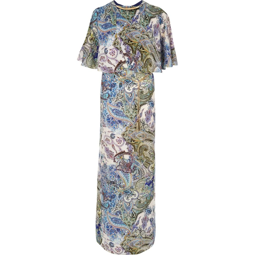 Womens Blue Paisley Maxi Dress - fit: fitted at waist; style: maxi dress; pattern: paisley; secondary colour: ivory/cream; predominant colour: royal blue; occasions: evening; length: floor length; fibres: polyester/polyamide - 100%; sleeve style: cape sleeve; neckline: crew; sleeve length: half sleeve; pattern type: fabric; pattern size: big & busy; texture group: other - light to midweight; embellishment: chain/metal; multicoloured: multicoloured; season: s/s 2016; wardrobe: event