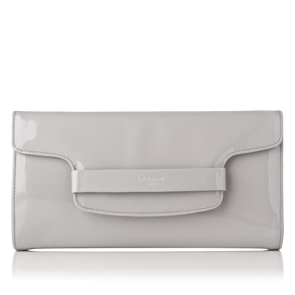 Laura Grey Patent Leather Clutch Grey Mist - predominant colour: mid grey; occasions: evening, occasion; type of pattern: standard; style: clutch; length: hand carry; size: small; material: leather; pattern: plain; finish: plain; season: s/s 2016; wardrobe: event