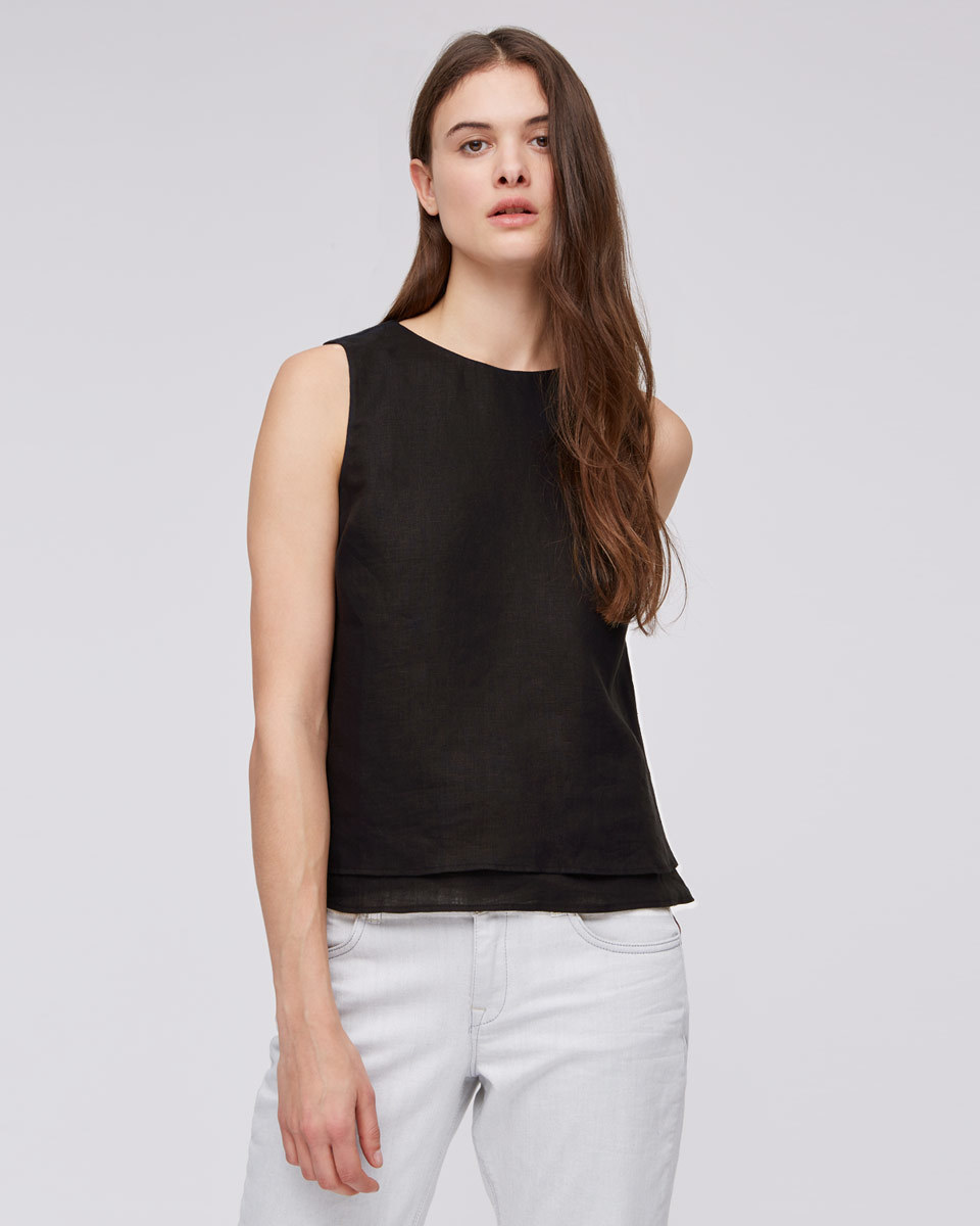 Linen Layered Top - neckline: round neck; pattern: plain; sleeve style: sleeveless; predominant colour: black; occasions: casual, creative work; length: standard; style: top; fibres: linen - 100%; fit: body skimming; sleeve length: sleeveless; texture group: linen; pattern type: fabric; season: s/s 2016; wardrobe: basic