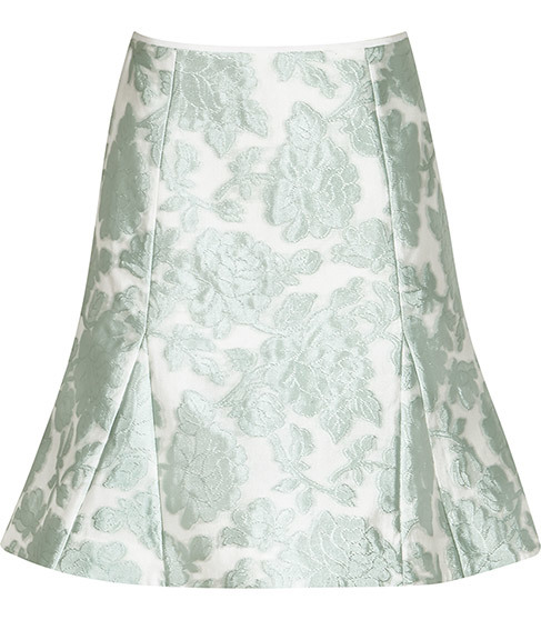 Tulip Jacquard Skirt - length: mid thigh; fit: body skimming; waist: mid/regular rise; secondary colour: white; predominant colour: pistachio; occasions: evening; style: fit & flare; fibres: polyester/polyamide - mix; pattern type: fabric; pattern: patterned/print; texture group: woven light midweight; pattern size: light/subtle (bottom); season: s/s 2016; wardrobe: event