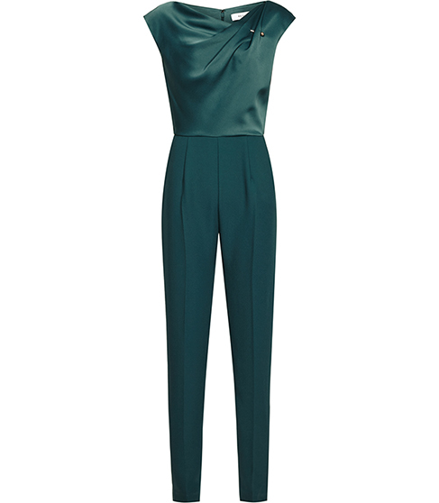 Frenchie Shoulder Detail Jumpsuit - length: standard; neckline: cowl/draped neck; sleeve style: capped; fit: tailored/fitted; pattern: plain; waist detail: fitted waist; bust detail: ruching/gathering/draping/layers/pintuck pleats at bust; predominant colour: teal; occasions: evening, occasion; fibres: polyester/polyamide - 100%; sleeve length: short sleeve; texture group: structured shiny - satin/tafetta/silk etc.; style: jumpsuit; pattern type: fabric; season: s/s 2016; wardrobe: event