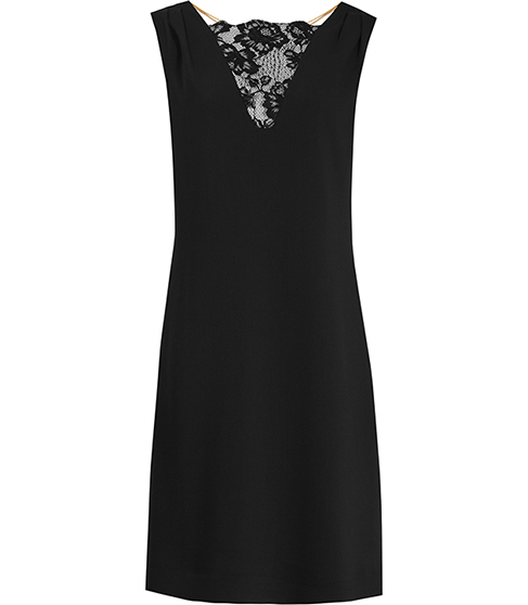 Caitlin Shift Dress With Lace Insert - style: shift; sleeve style: sleeveless; predominant colour: black; occasions: evening; length: just above the knee; fit: soft a-line; fibres: polyester/polyamide - 100%; sleeve length: sleeveless; neckline: medium square neck; pattern type: fabric; pattern size: standard; pattern: patterned/print; texture group: other - light to midweight; embellishment: lace; season: s/s 2016; wardrobe: event