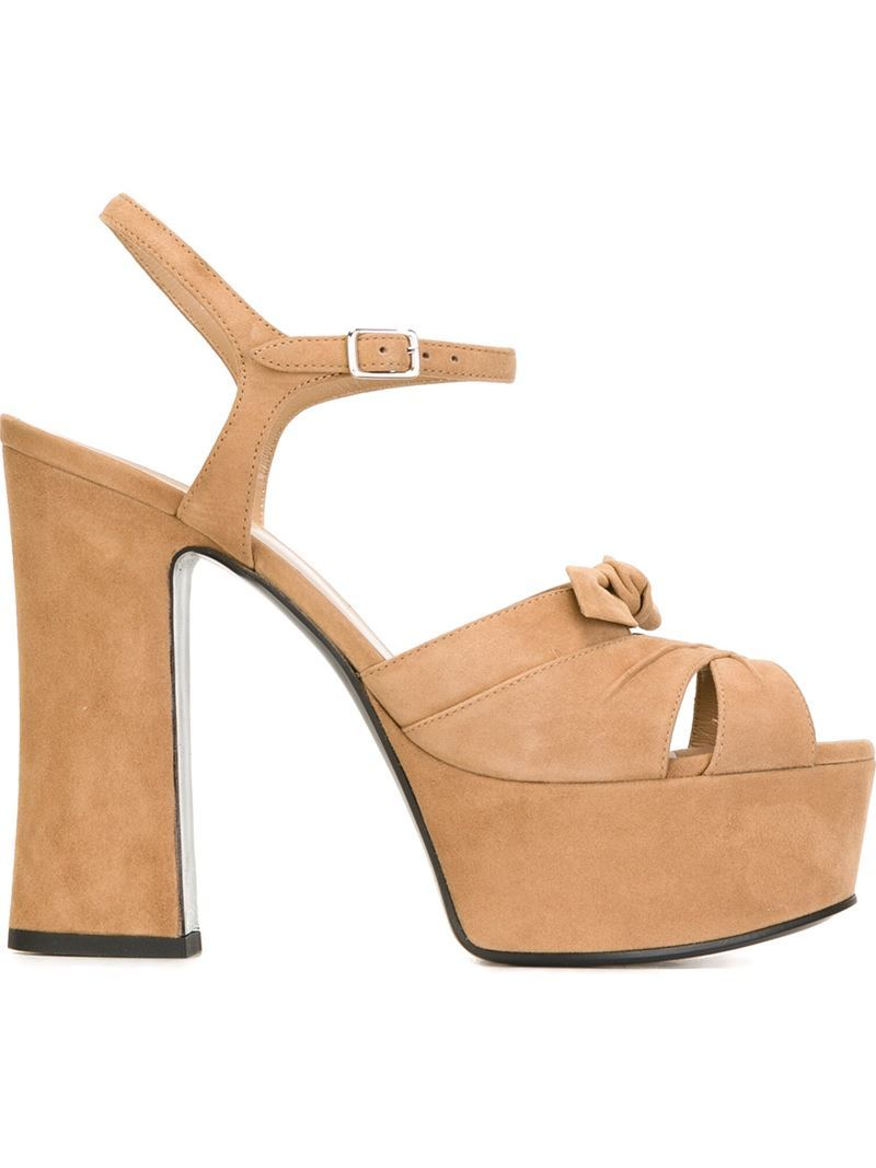 'candy' Sandals, Nude/Neutrals - predominant colour: nude; occasions: evening; material: suede; ankle detail: ankle strap; heel: block; toe: open toe/peeptoe; style: strappy; finish: plain; pattern: plain; embellishment: bow; heel height: very high; season: s/s 2016; wardrobe: event