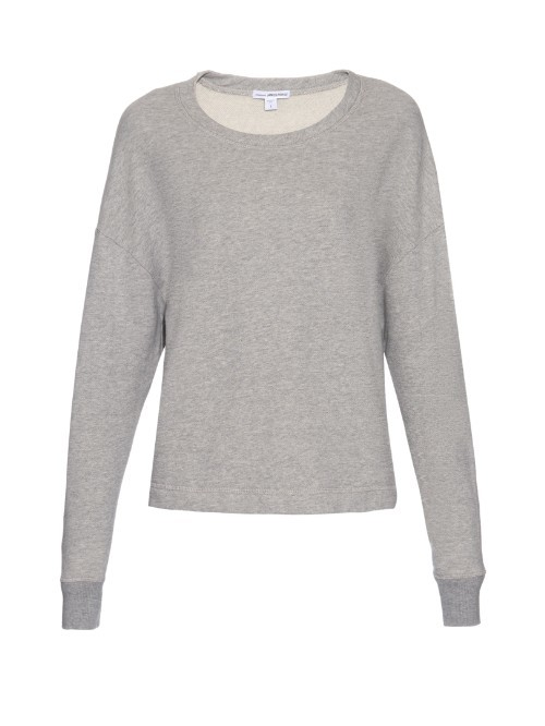 Round Neck Cotton Jersey Sweatshirt - pattern: plain; style: sweat top; predominant colour: light grey; occasions: casual; length: standard; fibres: cotton - 100%; fit: body skimming; neckline: crew; sleeve length: long sleeve; sleeve style: standard; pattern type: fabric; texture group: jersey - stretchy/drapey; season: s/s 2016; wardrobe: basic