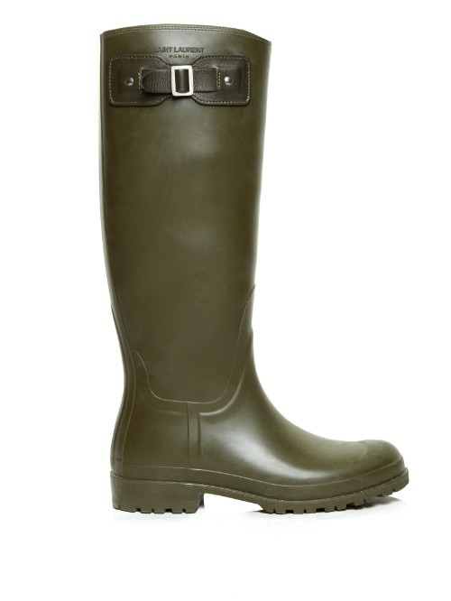 Logo Embossed Rubber Rain Boots - predominant colour: khaki; occasions: casual; material: plastic/rubber; heel height: flat; heel: standard; toe: round toe; boot length: knee; style: wellies; finish: plain; pattern: plain; season: s/s 2016