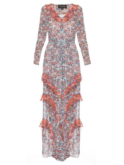 Izzie Floral Print Silk Georgette Dress - neckline: v-neck; style: maxi dress; secondary colour: pale blue; predominant colour: coral; occasions: evening; length: floor length; fit: body skimming; fibres: silk - 100%; hip detail: adds bulk at the hips; sleeve length: long sleeve; sleeve style: standard; texture group: sheer fabrics/chiffon/organza etc.; pattern type: fabric; pattern: florals; multicoloured: multicoloured; season: s/s 2016; wardrobe: event