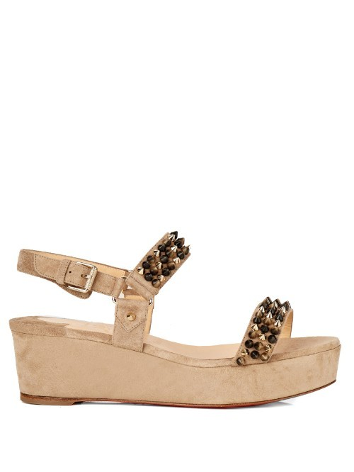 Bikee Deck Spike Suede 60mm Flatform Sandals - predominant colour: stone; secondary colour: black; occasions: casual, holiday; material: leather; heel height: mid; ankle detail: ankle strap; heel: wedge; toe: open toe/peeptoe; style: strappy; finish: plain; pattern: colourblock; shoe detail: platform; season: s/s 2016