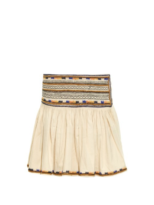 Saxen Embroidered Pleated Mini Skirt - length: mini; fit: loose/voluminous; waist: high rise; predominant colour: ivory/cream; secondary colour: mustard; occasions: casual; style: mini skirt; fibres: cotton - 100%; hip detail: subtle/flattering hip detail; pattern type: fabric; pattern: patterned/print; texture group: other - light to midweight; embellishment: embroidered; season: s/s 2016; wardrobe: highlight; embellishment location: hem, waist