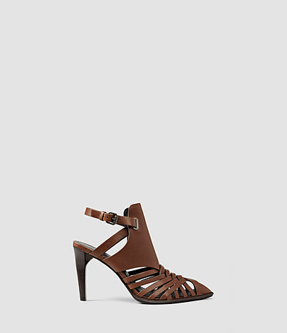 Tao Heel - predominant colour: chocolate brown; occasions: evening; material: suede; heel height: high; ankle detail: ankle strap; heel: stiletto; style: strappy; finish: plain; pattern: plain; toe: caged; season: s/s 2016; wardrobe: event