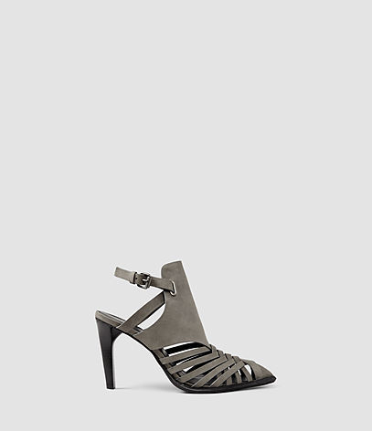Tao Heel - predominant colour: mid grey; occasions: evening; material: suede; heel height: high; ankle detail: ankle strap; heel: stiletto; style: strappy; finish: plain; pattern: plain; toe: caged; season: s/s 2016; wardrobe: event