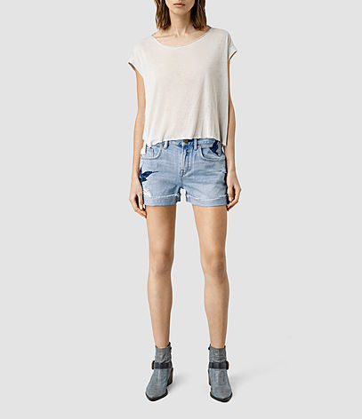 Birds Embroidered Denim Shorts - pattern: plain; pocket detail: traditional 5 pocket; waist: mid/regular rise; predominant colour: denim; occasions: casual, holiday; fibres: cotton - stretch; texture group: denim; pattern type: fabric; season: s/s 2016; style: denim; length: short shorts; fit: slim leg