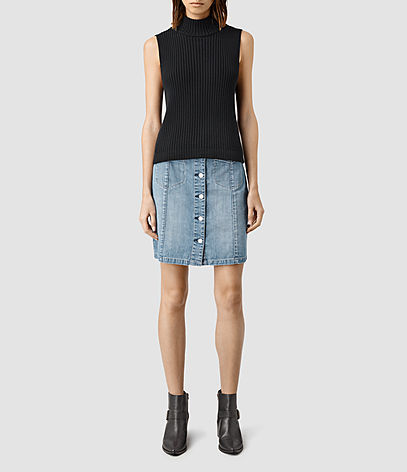 June Denim Skirt - pattern: plain; style: pencil; fit: body skimming; waist: mid/regular rise; predominant colour: pale blue; occasions: casual; length: just above the knee; fibres: cotton - 100%; texture group: denim; pattern type: fabric; season: s/s 2016; wardrobe: basic
