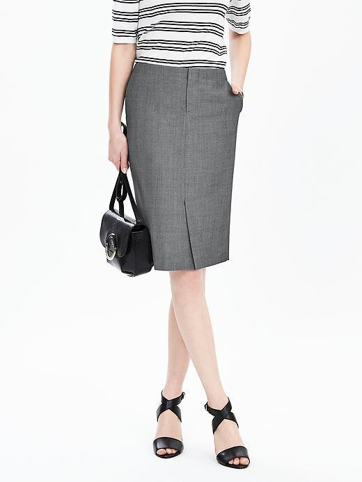 Trouser Skirt Smoke Gray - style: pencil; fit: tailored/fitted; waist: high rise; hip detail: draws attention to hips; predominant colour: charcoal; occasions: work; length: on the knee; fibres: wool - mix; pattern type: fabric; texture group: woven light midweight; pattern: marl; pattern size: light/subtle (bottom); season: s/s 2016; wardrobe: basic