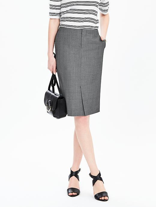 Trouser Skirt Smoke Gray - style: pencil; fit: tailored/fitted; waist: high rise; hip detail: draws attention to hips; predominant colour: mid grey; occasions: work; length: on the knee; fibres: wool - mix; pattern type: fabric; texture group: woven light midweight; pattern: marl; pattern size: light/subtle (bottom); season: s/s 2016; wardrobe: basic