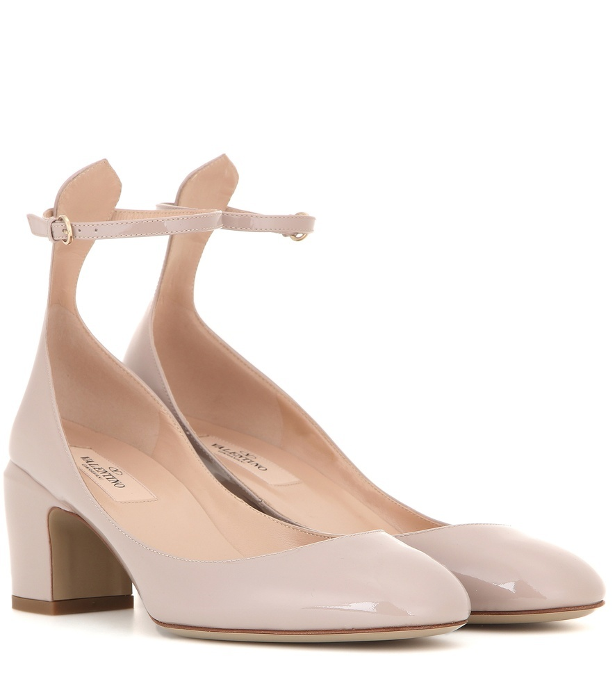 Tan Go Patent Leather Pumps - predominant colour: stone; occasions: casual, creative work; material: leather; heel height: mid; ankle detail: ankle strap; heel: block; toe: round toe; style: courts; finish: patent; pattern: plain; season: s/s 2016; wardrobe: investment