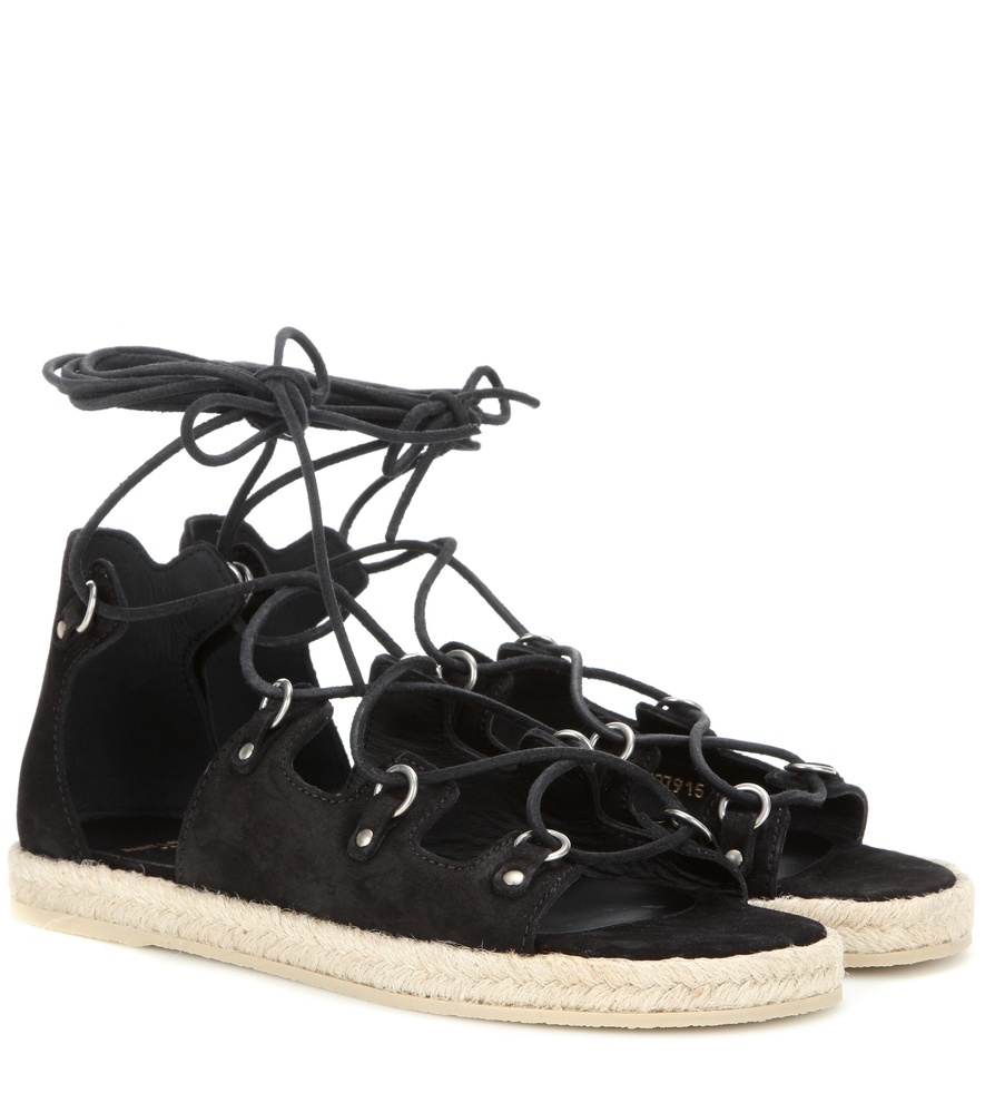 Espadrille 05 Suede Sandals - predominant colour: black; occasions: casual; material: leather; heel height: flat; ankle detail: ankle strap; heel: standard; toe: open toe/peeptoe; style: strappy; finish: plain; pattern: plain; shoe detail: platform; season: s/s 2016; wardrobe: basic