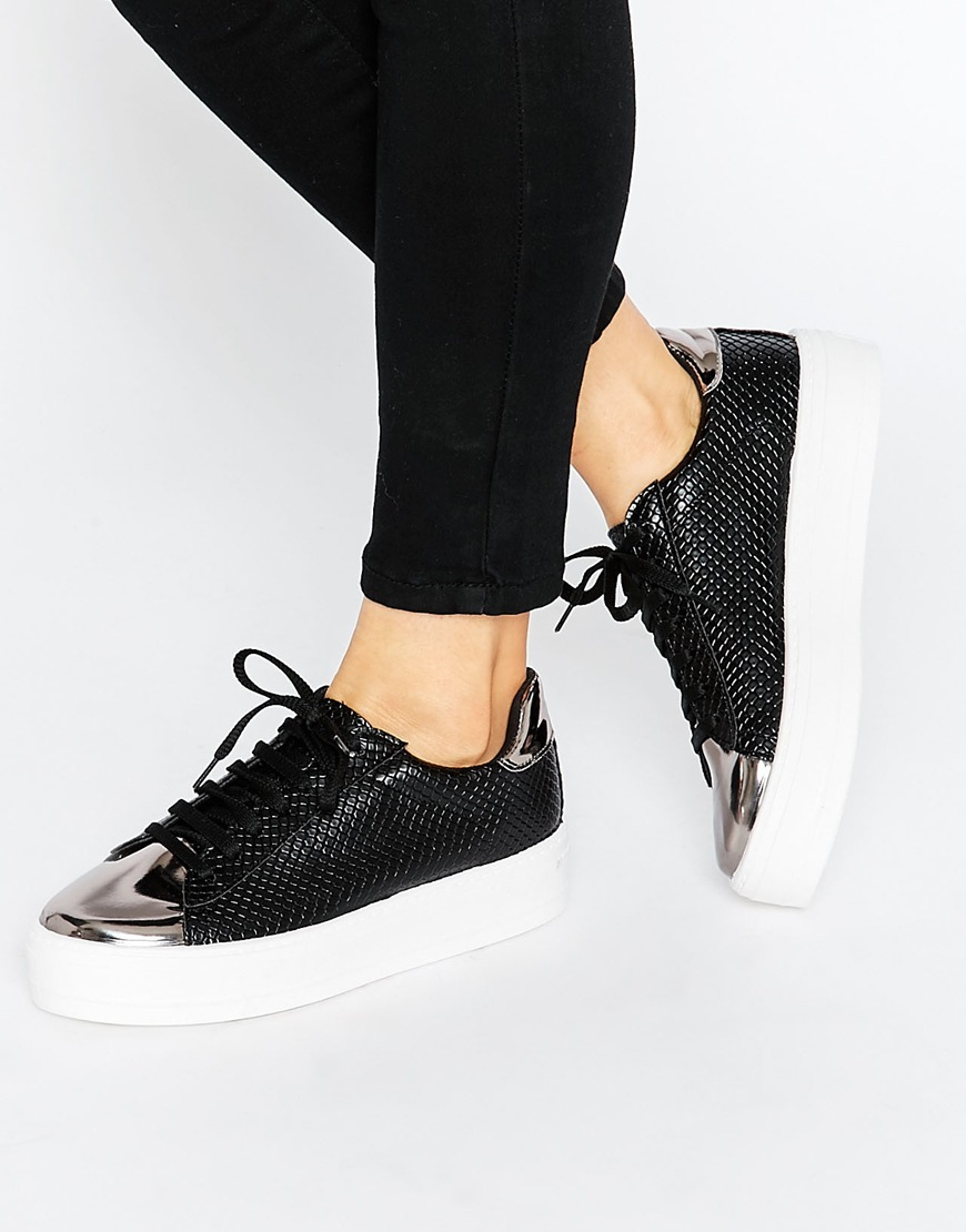 Definitely Lace Up Trainers Black - secondary colour: silver; predominant colour: black; occasions: casual, creative work; material: leather; heel height: flat; toe: round toe; style: trainers; finish: plain; pattern: plain; embellishment: toe cap; shoe detail: moulded soul; season: s/s 2016; wardrobe: highlight
