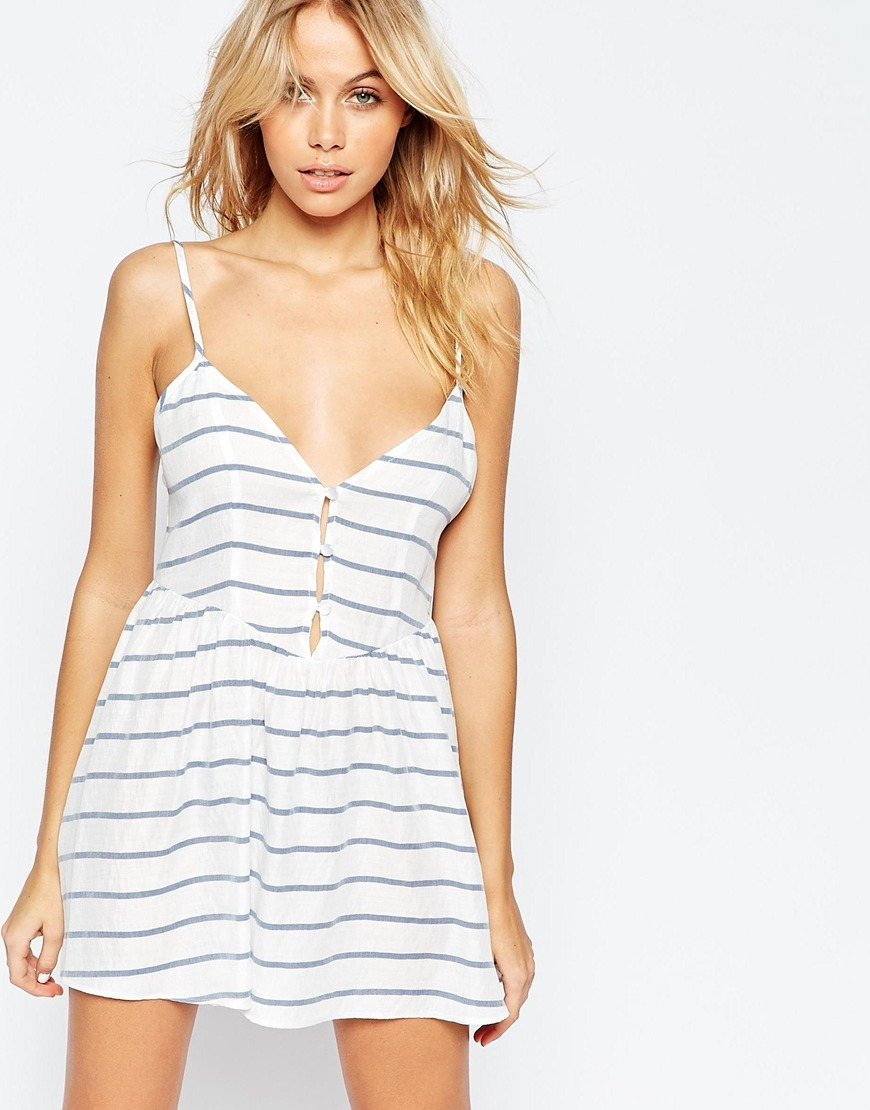 Button Front Stripe Beach Dress Stripe - length: mid thigh; neckline: low v-neck; sleeve style: spaghetti straps; pattern: horizontal stripes; style: sundress; predominant colour: white; secondary colour: pale blue; occasions: casual, holiday; fit: fitted at waist & bust; fibres: cotton - mix; sleeve length: sleeveless; pattern type: fabric; texture group: jersey - stretchy/drapey; multicoloured: multicoloured; season: s/s 2016; wardrobe: highlight