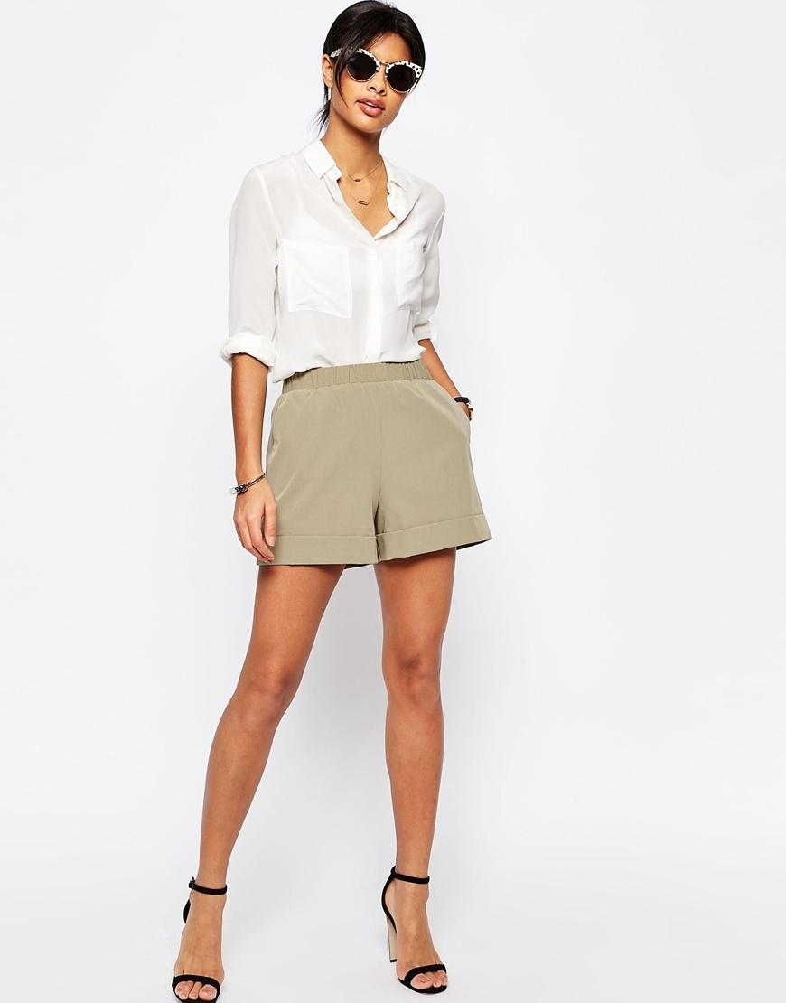 Tailored Short With Gathered Waist Sage - pattern: plain; waist: high rise; predominant colour: stone; occasions: casual, holiday; fibres: polyester/polyamide - mix; pattern type: fabric; texture group: other - light to midweight; season: s/s 2016; style: shorts; length: short shorts; fit: slim leg; wardrobe: holiday