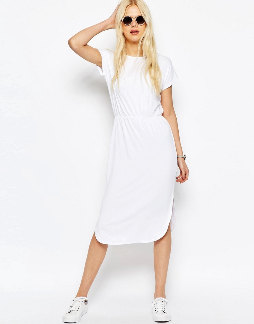 Waisted T Shirt Midi Dress White - style: t-shirt; length: calf length; pattern: plain; predominant colour: white; occasions: casual; fit: body skimming; fibres: viscose/rayon - stretch; neckline: crew; sleeve length: short sleeve; sleeve style: standard; pattern type: fabric; texture group: jersey - stretchy/drapey; season: s/s 2016; wardrobe: basic