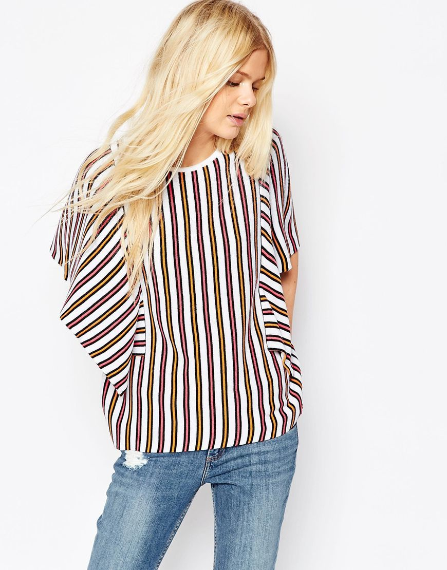Top In Stripe With Ruffle Sleeve Detail Multi - sleeve style: dolman/batwing; pattern: striped; predominant colour: white; secondary colour: burgundy; occasions: casual; length: standard; style: top; fibres: acrylic - 100%; fit: loose; neckline: crew; sleeve length: short sleeve; pattern type: fabric; texture group: other - light to midweight; multicoloured: multicoloured; season: s/s 2016; wardrobe: highlight